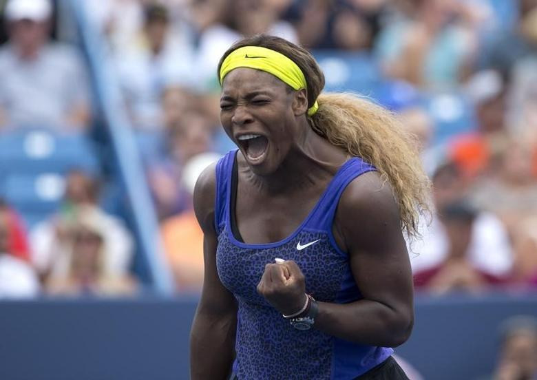 Aug 16, 2014; Cincinnati, OH, USA; Serena Williams (USA) reacts on day six of the Western and Southern Open tennis tournament at Linder Family Tennis Center.  Aaron Doster-USA TODAY Sports