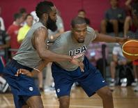 Jul 30, 2014; Las Vegas, NV, USA; Team USA guard Kevin Durant (right) dribbles the ball against guard James Harden (left) during a team practice session at Mendenhall Center.  Stephen R. Sylvanie-USA TODAY Sports