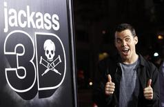 """Cast member Steve-O gestures at the premiere of """"Jackass 3D"""" at Grauman's Chinese theatre in Hollywood, California October 13, 2010. The movie opens in the U.S. on October 15.  REUTERS/Mario Anzuoni"""