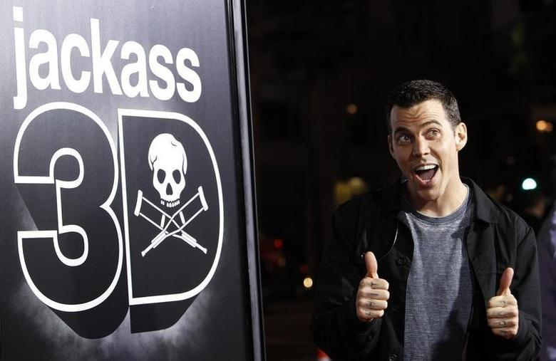 Cast member Steve-O gestures at the premiere of ''Jackass 3D'' at Grauman's Chinese theatre in Hollywood, California October 13, 2010. The movie opens in the U.S. on October 15.  REUTERS/Mario Anzuoni