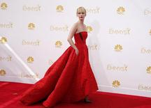 """January Jones from the AMC series """"Mad Men"""" arrives at the 66th Primetime Emmy Awards in Los Angeles, California August 25, 2014.  REUTERS/Lucy Nicholson"""