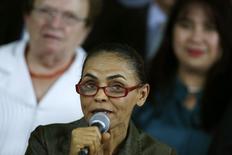 A candidata à Presidência pelo PSB, Marina Silva, fala durante evento em Brasília na semana passada. 20/08/2014 REUTERS/Ueslei Marcelino