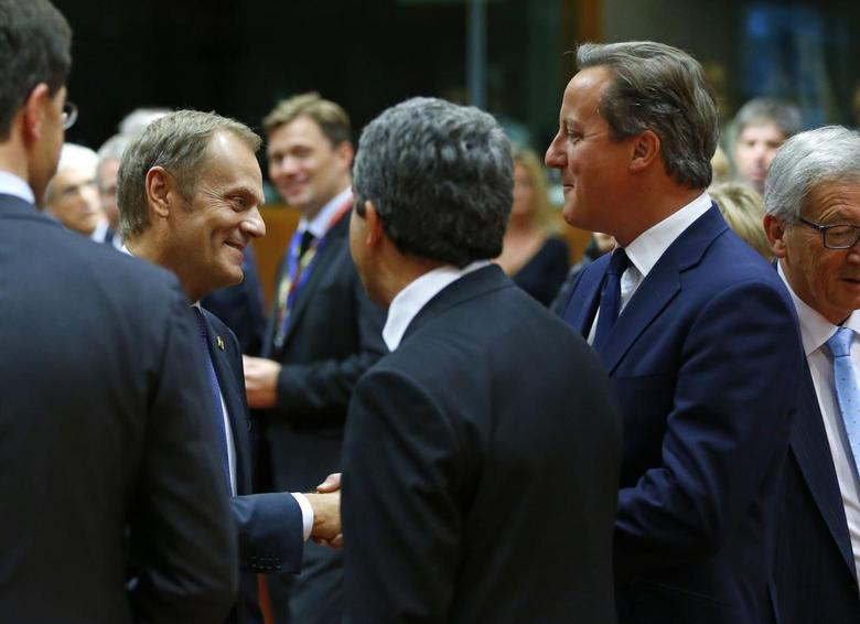 Poland's Prime Minister Donald Tusk (L) talks with Britain's Prime Minister David Cameron at the start of a European Union summit in Brussels August 30, 2014.   REUTERS/Yves Herman