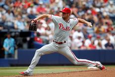 Sep 1, 2014; Atlanta, GA, USA; Philadelphia Phillies starting pitcher Cole Hamels (35) throws the ball against the Atlanta Braves in the second inning at Turner Field.  Brett Davis-USA TODAY Sports