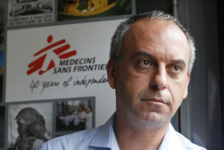 Mego Terzian, head of Medecins sans Frontieres France (MSF), poses during an interview with Reuters at the MSF headquarters in Paris August 29, 2014. REUTERS/Charles Platiau