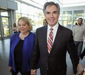 Alberta Progressive Conservative leadership candidate Jim Prentice (R) and wife Karen arrive at the results event of the first ballot for the party leadership, in Edmonton September 6, 2014.   REUTERS/Dan Riedlhuber