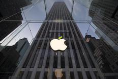 The leaf on the Apple symbol is tinted green at the Apple flagship store on 5th Ave in New York April 22, 2014. REUTERS/Brendan McDermid