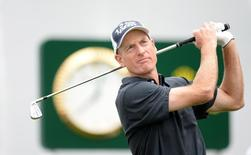 Sep 5, 2014; Cherry Hills Village, CO, USA; Jim Furyk tees off from the 1st hole during the second round of the BMW Championship at Cherry Hills Country Club. Mandatory Credit: Ron Chenoy-USA TODAY Sports
