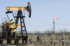 """Станок-качалка на месторождении Юганскнефтегаза близ Нефтеюганска 26 апреля 2006 года. Российский премьер Дмитрий Медведев огласил в четверг некоторые параметры """"налогового маневра"""" в нефтяной индустрии, который уже не первый месяц обсуждают чиновники и представители добывающих компаний. REUTERS/Sergei Karpukhin"""