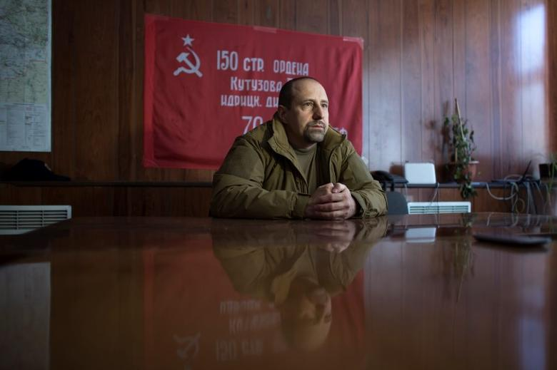 Rebel commander Alexander Khodakovsky of the Vostok Battalion speaks during an interview with Reuters in Donetsk, eastern Ukraine, September 17, 2014. REUTERS/Marko Djurica