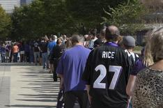Sep 19, 2014; Baltimore, MD, USA; Baltimore Ravens fans wait in line over an hour to exchange their Ray Rice jerseys for new NFL jerseys at M&T Bank Stadium. Mandatory Credit: Tommy Gilligan-USA TODAY Sports