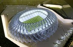 Qatar presents a model of its Al-Wakrah stadium as it bids to host the FIFA 2022 World Cup during the FIFA Inspection Tour for the country's bid, in Doha September 16, 2010.