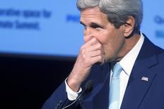 Secretário de Estado dos EUA, John Kerry, durante discurso em Nova York. 23/09/2014  REUTERS/Carlo Allegri