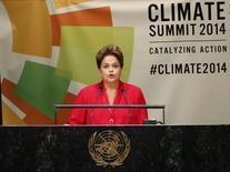 Presidente Dilma Rousseff durante pronunciamento na Cúpula do Clima da ONU, em Nova York. 23/09/2014.  REUTERS/Mike Segar
