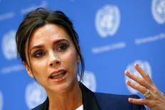 Victoria Beckham em entrevista na sede da ONU nesta quinta-feira.   REUTERS/Shannon Stapleton