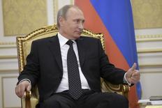Presidente russo, Vladimir Putin, participa de reunião com presidente do Cazaquistão, Nursultan Nazarbayev, na cidade de Atyrau.  30/9/2014  REUTERS/Aleksey Nikolskyi/RIA Novosti/Kremlin