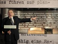 Rabbi Marvin Hier, founder and dean of the Simon Wiesenthal Center Museum of Tolerance, unveils a copy of the 'Gemlich Letter', written by Adolf Hitler in 1919, in Los Angeles, California October 4, 2011.  REUTERS/Lucy Nicholson