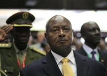 Uganda's President Yoweri Museveni arrives to attend the Africa Union Peace and Security Council Summit on Terrorism at the Kenyatta International Convention Centre in Nairobi, September 2, 2014. REUTERS/Noor Khamis