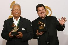 Nati Cano (L) and Jesus Guzman hold their awards after winning Best Regional Mexican Album at the 51st annual Grammy Awards in Los Angeles February 8, 2009.     REUTERS/Mario Anzuoni