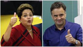 Candidatos à Presidência que vão disputar 2º turno, presidente Dilma Rousseff (PT) e Aécio Neves (PSDB), no dia da votação em Porto Alegre e Belo Horizonte, respectivamente. 5/10/2014 REUTERS/Paulo Whitaker, Washington Alves