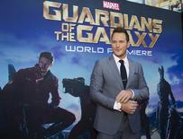 """Cast member Chris Pratt poses at the premiere of """"Guardians of the Galaxy"""" in Hollywood, California July 21, 2014.  REUTERS/Mario Anzuoni"""