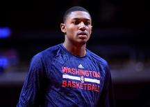 Oct 6, 2014; Chicago, IL, USA; Washington Wizards guard Bradley Beal (3) during practice before the game against the Chicago Bulls at the United Center. Mandatory Credit: Mike DiNovo-USA TODAY Sports