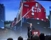 Hunter Harrison, CEO of Canadian Pacific Railway Limited addresses shareholders at the company's annual general meeting in Calgary, Alberta, May 1, 2014. REUTERS/Mike Sturk