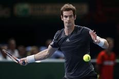 Tenista britânico Andy Murray durante partida contra o búlgaro Grigor Dimitrov em Paris. 30/10/2014. REUTERS/Benoit Tessier