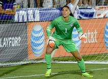 Aug 20, 2014; Cary, NC, USA;   USA goalkeeper Hope Solo (1) watches a cross during a women's friendly between the USA and Switzerland at Wake Med Soccer Park. Mandatory Credit: Rob Kinnan-USA Today.