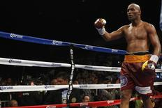Apr 19, 2014; Washington, DC, USA; Bernard Hopkins  celebrates after his fight against Beibut Shumenov (not pictured) at DC Armory. Mandatory Credit: Geoff Burke-USA TODAY Sports - RTR3LY4M