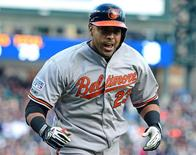 Oct 5, 2014; Detroit, MI, USA; Baltimore Orioles designated hitter Nelson Cruz (23) celebrates after hitting a two-run home run against the Detroit Tigers during the sixth inning in game three of the 2014 ALDS baseball playoff game at Comerica Park. Mandatory Credit: Andrew Weber-USA TODAY Sports