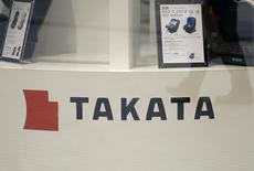 Displays of Takata Corp are pictured at a showroom for vehicles in Tokyo November 5, 2014. REUTERS/Toru Hanai