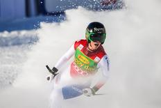 Dec 7, 2014; Lake Louise, Alberta, Canada; Lara Gut of Switzerland finishes her run during the women's super G in the FIS alpine skiing World Cup at Lake Louise Ski Resort. Mandatory Credit: Sergei Belski-USA TODAY Sports