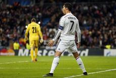 Cristiano Ronaldo comemora gol marcado contra o Ludogorets pela Liga dos Campeões em Madri. 09/12/2014 REUTERS/Susana Vera