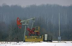 Станок-качалка в деревне Безуев, Белоруссия 4 февраля 2009 года. Цены на нефть снижаются после сообщения о снижении активности в производственном секторе Китая в декабре. REUTERS/Vasily Fedosenko
