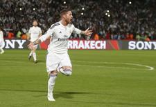 Sergio Ramos, do Real Madrid, comemora gol marcado contra o  Cruz Azul pela semifinal do Mundial de Clubes em Marrakech. 16/12/2014 REUTERS/Youssef Boudlal