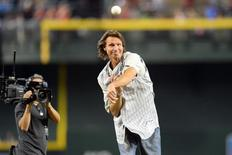 May 18, 2014; Phoenix, AZ, USA; Randy Johnson throws out the first pitch at Chase Field to honor the 10th anniversary of his perfect game against the Atlanta Braves. Mandatory Credit: Joe Camporeale-USA TODAY Sports