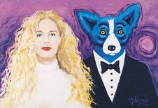 """The 1997 painting """"Wendy and Me"""" by Louisiana artist George Rodrigue, is pictured in this undated handout image obtained by Reuters January 6, 2015.  REUTERS/George Rodrigue Foundation of the Arts/Handout via Reuters"""