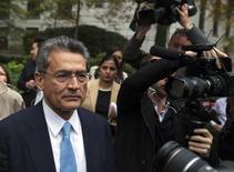 Former Goldman Sachs Group Inc board member Rajat Gupta departs Manhattan Federal Court after being sentenced in New York, October 24, 2012. REUTERS/Lucas Jackson/Files