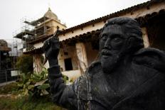 The bell tower dome is seen at the San Carlos Borromeo de Carmelo Mission in Carmel, California, February 18, 2013. The Carmel Mission was established in 1771 by Spanish Franciscan friar Junipero Serra. REUTERS/Michael Fiala