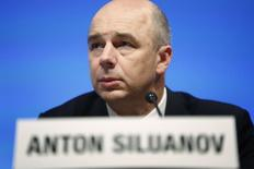 Russia's Finance Minister Anton Siluanov holds a news briefing after a G20 meeting at the start of the annual IMF-World Bank fall meetings in Washington, October 11, 2013. REUTERS/Jonathan Ernst