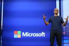 "Microsoft CEO Satya Nadella gestures during his keynote address at the company's  ""build"" conference in San Francisco, California April 2, 2014. REUTERS/Robert Galbraith"