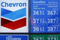 Current gas prices are shown at a Chevron gas station in Encinitas, California October 10, 2014. REUTERS/Mike Blake