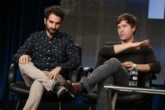 """Writer and director brothers Jay (L) and Mark Duplass participate in a panel for the HBO television show """"Togetherness"""" during the TCA presentations in Pasadena, California, January 8, 2015. REUTERS/Lucy Nicholson"""