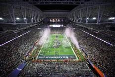 A general view of the New England Patriots as they celebrate their victory over the Seattle Seahawks 28-24 in Super Bowl XLIX at University of Phoenix Stadium. Mandatory Credit: Andrew Weber-USA TODAY Sports