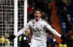 James Rodríguez, do Real Madrid, comemora gol marcado contra o Sevilla pelo Campeonato Espanhol em Madri. 04/02/2015  REUTERS/Susana Vera