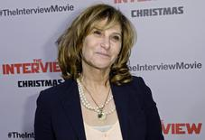 """Sony Pictures Entertainment Co-Chairman Amy Pascal poses during the premiere of """"The Interview"""" in Los Angeles, California December 11, 2014.  REUTERS/Kevork Djansezian"""