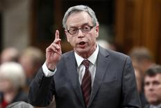 Canada's Finance Minister Joe Oliver speaks during Question Period in the House of Commons on Parliament Hill in Ottawa January 27, 2015. REUTERS/Chris Wattie