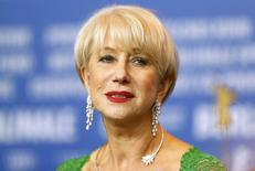 Actress Helen Mirren looks on during a news conference to promote the movie 'Woman In Gold' at the 65th Berlinale International Film Festival, in Berlin February 9, 2015. REUTERS/Hannibal Hanschke