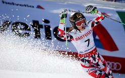 Feb 12, 2015; Beaver Creek, CO, USA; Anna Fenninger of Austria celebrates after run two of the womens giant slalom in the FIS alpine skiing world championships at Raptor Racecourse. Jeff Swinger-USA TODAY Sports